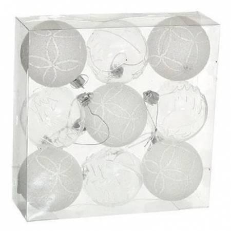 Набір кульок з візерунком, 9шт., 6 см., білий