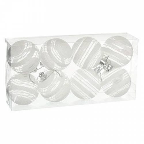 Набір кульок з візерунком, 8 шт., 6 см., білий