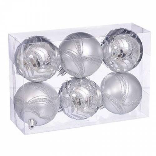Набір кульок з візерунком, 6 шт. 6 см. сріблястий
