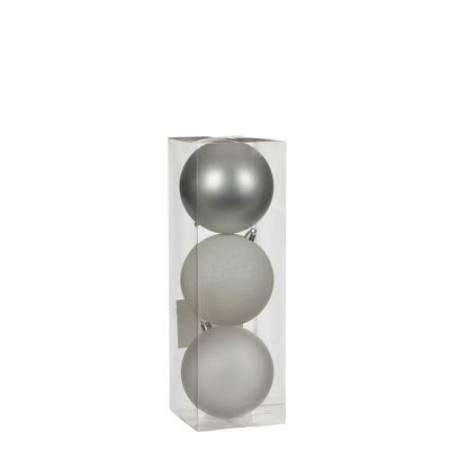 """Елочные шарики """"House of Seasons"""" комплект 3 шт, цвет микс: белый, серый"""