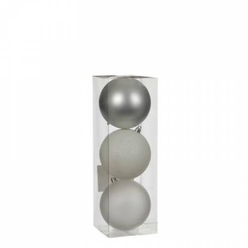 """Ялинкові кульки """"House of Seasons"""" комплект 3 шт, колір мікс: білий, сірий"""