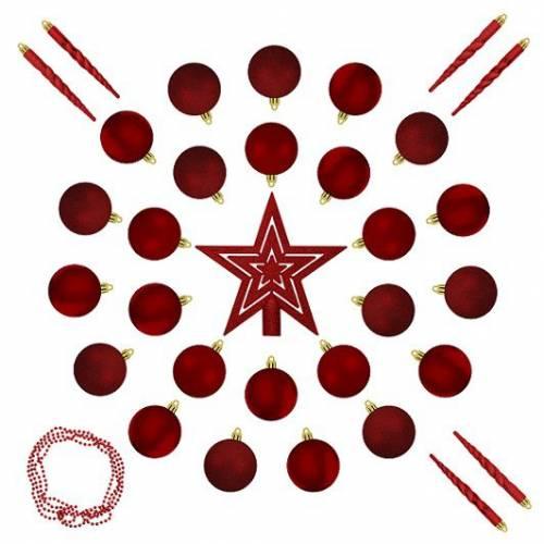 """Ялинкові кульки 33 шт., """"House of Seasons"""" комплект, мікс відтінків червоного"""