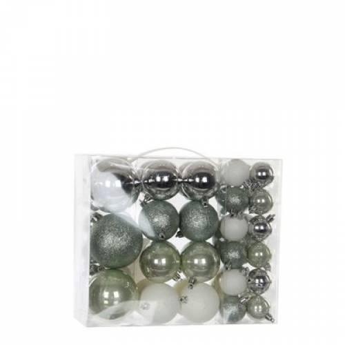 """Ялинкові кульки """"House of Seasons"""" набір з 46 шт, колір: відтінки сірого"""