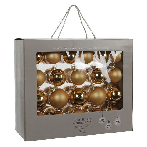 """Ялинкові кульки 42 шт., """"House of Seasons"""" комплект, колір золотий"""