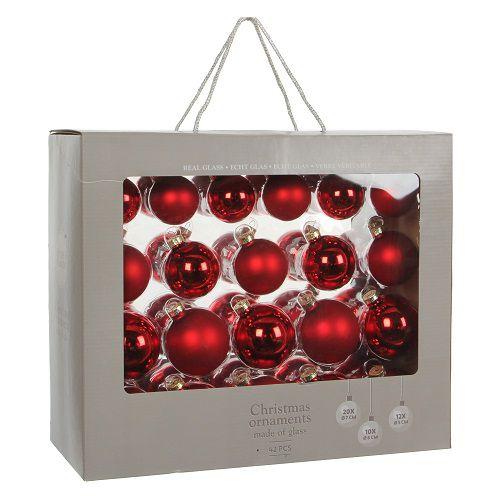 """Ялинкові кульки 42 шт., """"House of Seasons"""" комплект, колір червоний"""