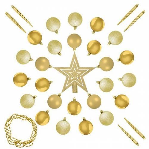 """Ялинкові кульки 33 шт., """"House of Seasons"""" набір, відтінки золотого"""