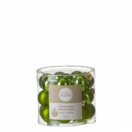 """Ялинкові кульки 24 шт., """"House of Seasons"""" комплект, колір зелений"""