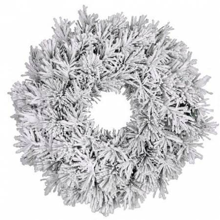 Вінок ø 60 см. декоративний Dinsmore Frosted зелений зі снігом