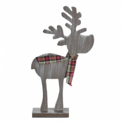 """Декоративна прикраса """"Дерев'яний олень"""" коричневий, 14 см."""