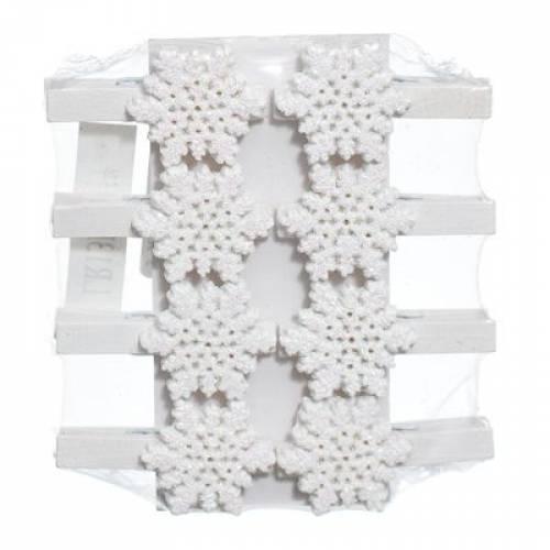"""Набір декоративних прикрас """"Прищіпки зі сніжинками"""", 8 шт., Jumi"""
