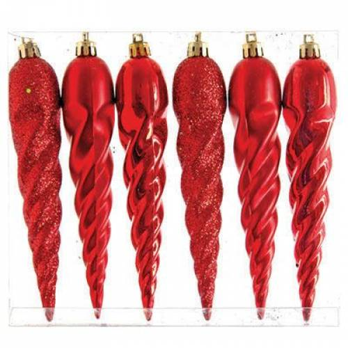 Набір новорічних іграшок, бурульки, 6 шт. 16 см. червоний