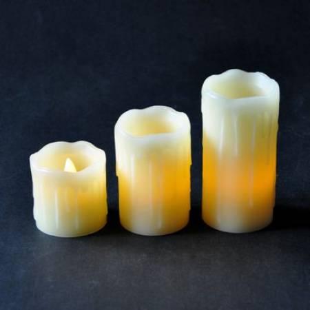 """Комплект 3-х свічок декоративних """"Mica Decorations"""", колір - кремово-жовтий"""