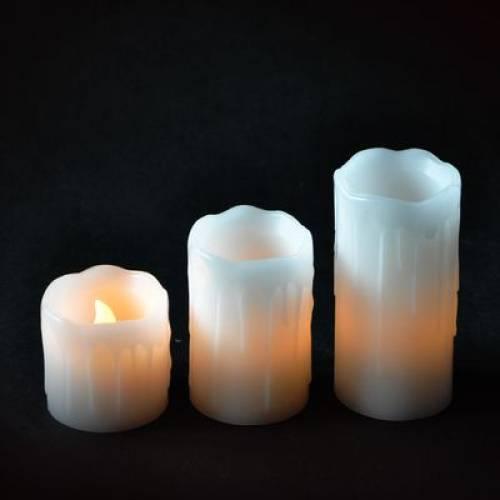 """Комплект із 3-х свічок декоративних """"Mica Decorations"""", колір - білий з відтінком жовтого"""