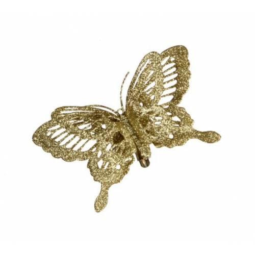 "Прикраса декоративна кліпса ""Метелик золотавий"""