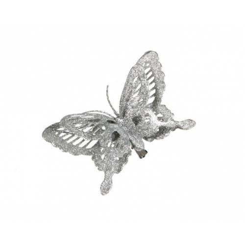 """Прикраса декоративна кліпса """"Метелик сріблястий"""""""