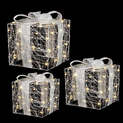 """Комплект із 3-х декоративних фігурок """"Три подарунки"""", 25*25*28 см., Luca Lighting"""