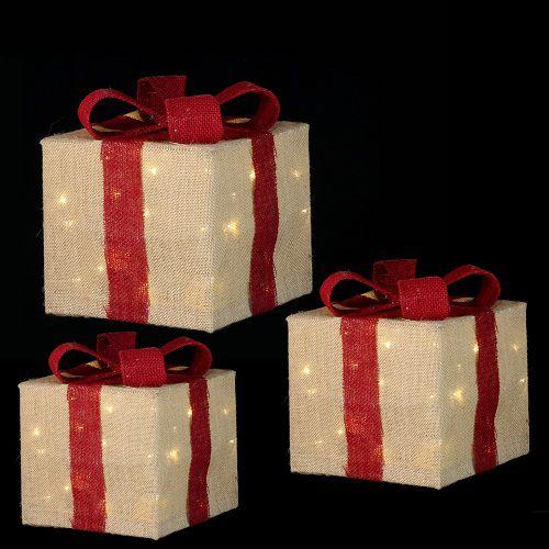 """Комплект із 3-х декоративних фігурок """"Три кольорові подарунки"""", 25*25*28 см., Luca Lighting"""