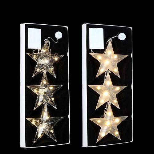 """Набір декоративних прикрас """"Три яскраві зіроньки"""", ø 15см., колір теплий білий, Luca Lighting"""
