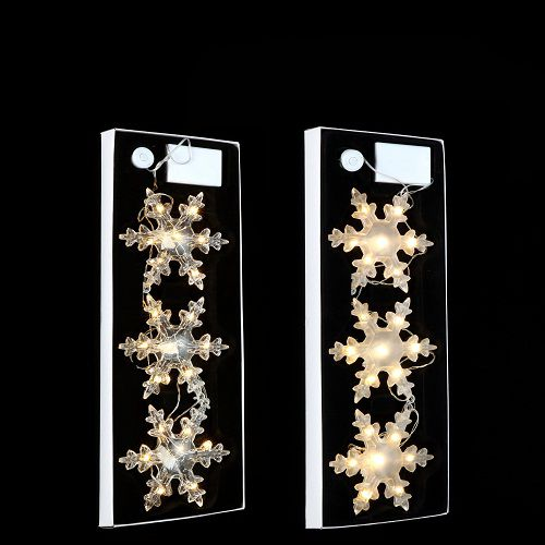 """Набір декоративних прикрас ø 12 см., """"Три яскраві сніжинки"""", колір теплий білий, Luca Lighting"""