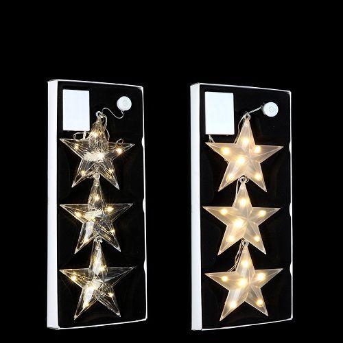 """Набір декоративних прикрас ø 12 см., """"Три яскраві зіроньки"""", колір теплий білий, Luca Lighting"""