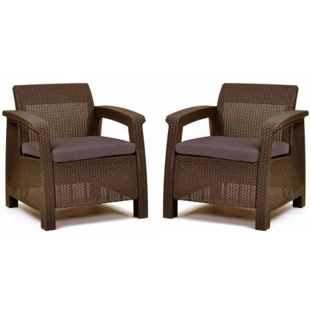Комплект крісел пластикових Corfu Duo, коричневий