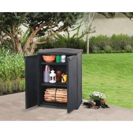 Ящик для зберігання Keter Rattan Style Base Shed Compact Garden 230 л, сірий