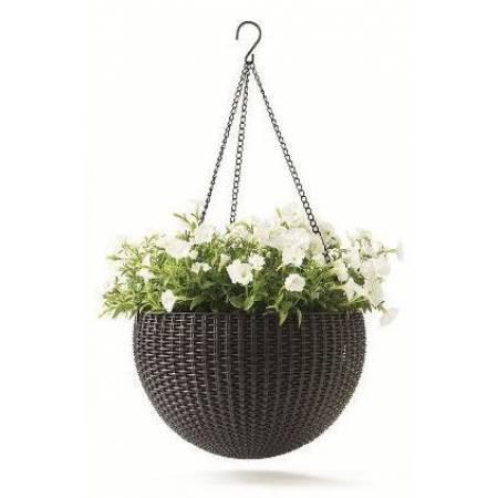 Горщик для квітів 8,6 л. Rattan style hanging sphere planter