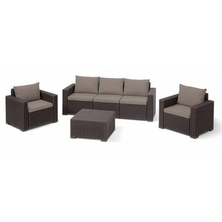 Комплект садовой мебели California 3 seater, коричневый