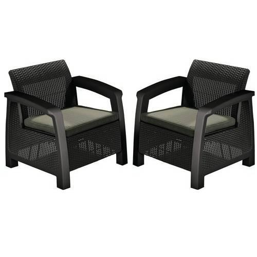 Комплект крісел, 2 шт, Bahamas Duo set, коричневий - сіро-бежевий