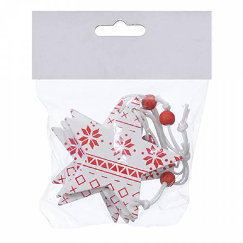 Набір новорічних прикрас 6,5 см, Зірка, 4 шт, комп., дерево, колір білий з червоним
