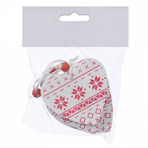 Набір новорічних прикрас 6,5 см, Серце, 4 шт, компл., дерево, колір білий з червоним
